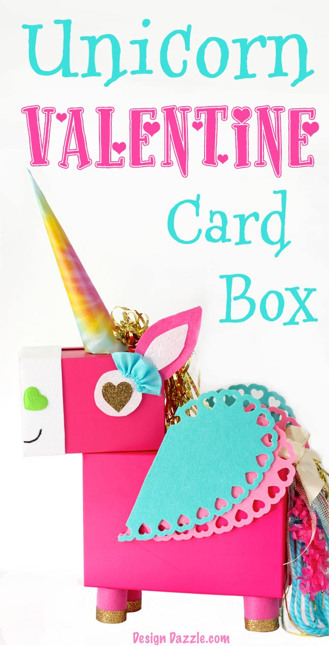 How to make a unicorn valentine's day card box from recycled materials