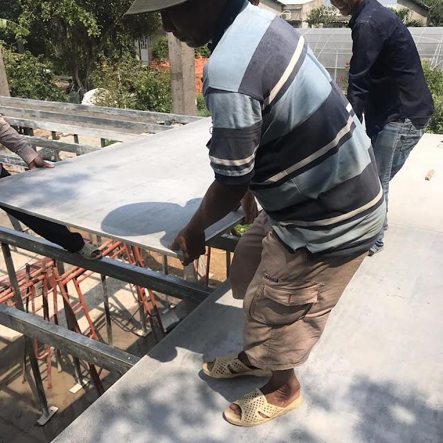 thi công lót sàn nhà yến bằng tấm xi măng nhẹ thái lan