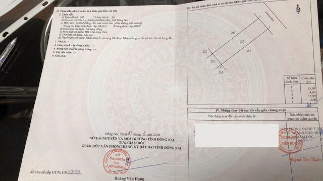 Bán đất xã Hóa An Thành Phố Biên Hòa 64mv (CYNT)