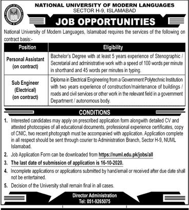 National University of Modern Languages NUML Job Advertisement in Pakistan - Apply Online - www.numl.edu.pk