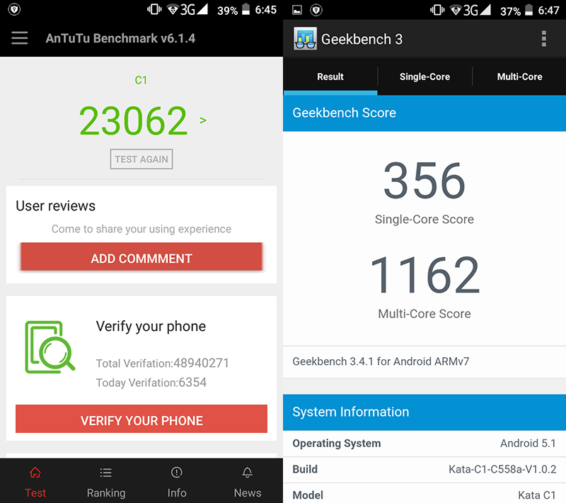 Benchmarks scores (Antutu and Geekbench)