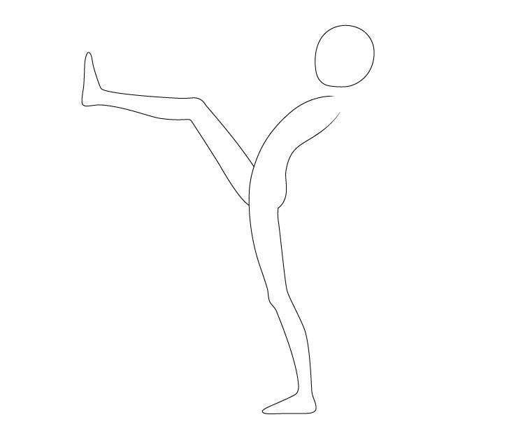 Anime menendang pose kaki menggambar