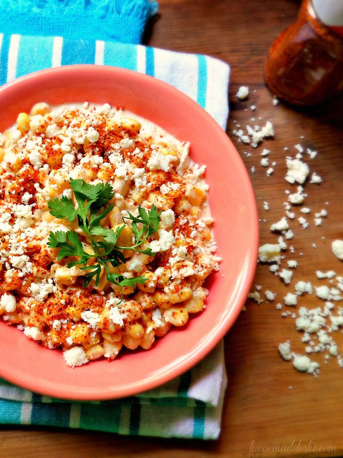 Ensalada de Elote (Mexican Street Corn Salad) - lacocinadeleslie.com