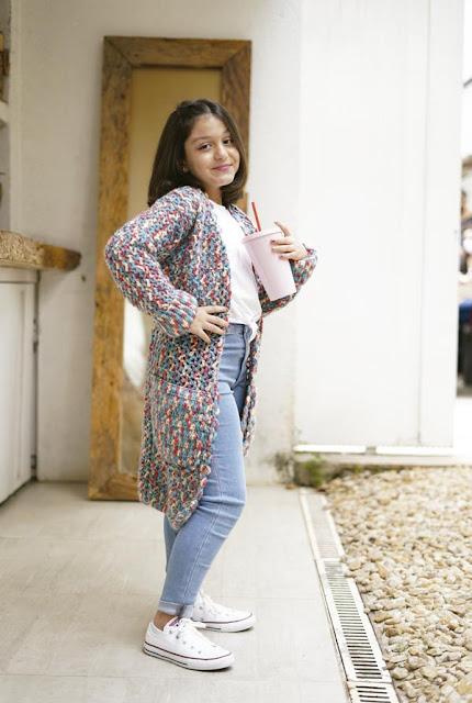 Casaco de Crochê Teen Multicolorido