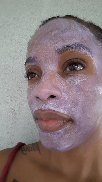 Tatcha Violet-C Radiance Mask after 15 minutes - www.modenmakeup.com