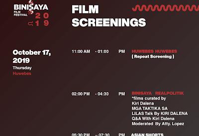 Binisaya Film Festival 2019 Schedule