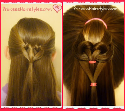 Heart knot hairstyle and hanging heart, comparison photo.
