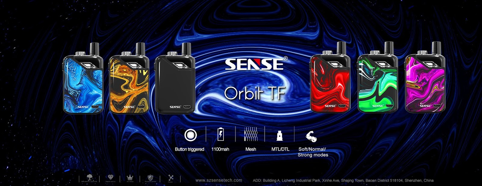 New Arrival Sense Orbit Tf Pod System Starter Kit 1100mah 3ml