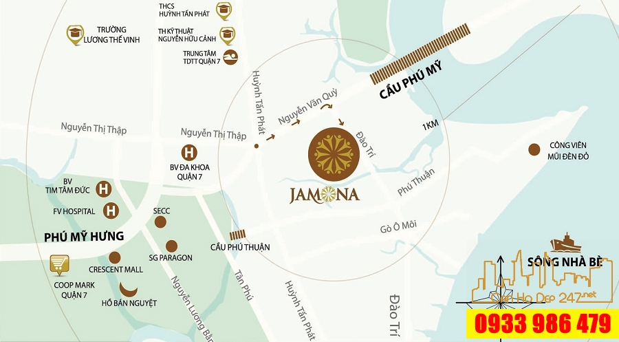 Vị trí dự án Sky Villas Jamona