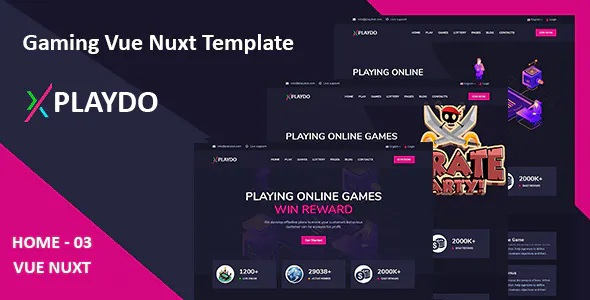 Best Live Gaming & Games Studio Vue Nuxt Template