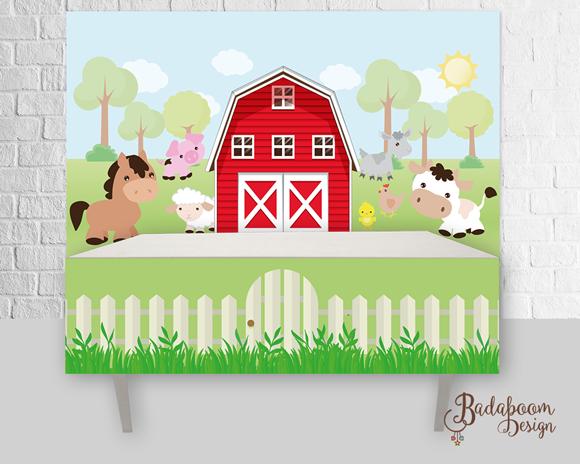 Fazenda, Fazendinha, painel, arte, digital, saia de mesa, personalizado, festa, infantil, cavalo, porco, ovelha, galinha, bichinhos