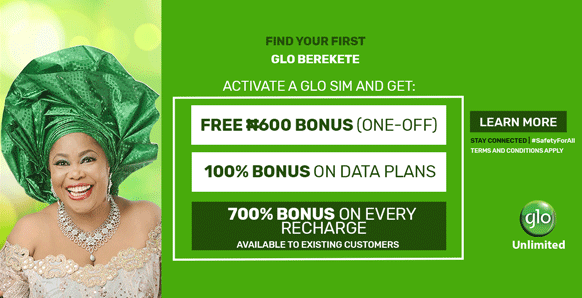 Introducing Glo Berekete Plan, Get 700% Airtime bonus, 5GB Free Data