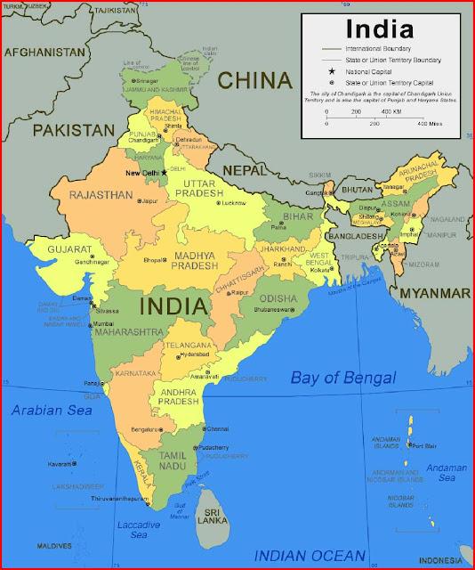 Gambar Peta Negara Bagian India