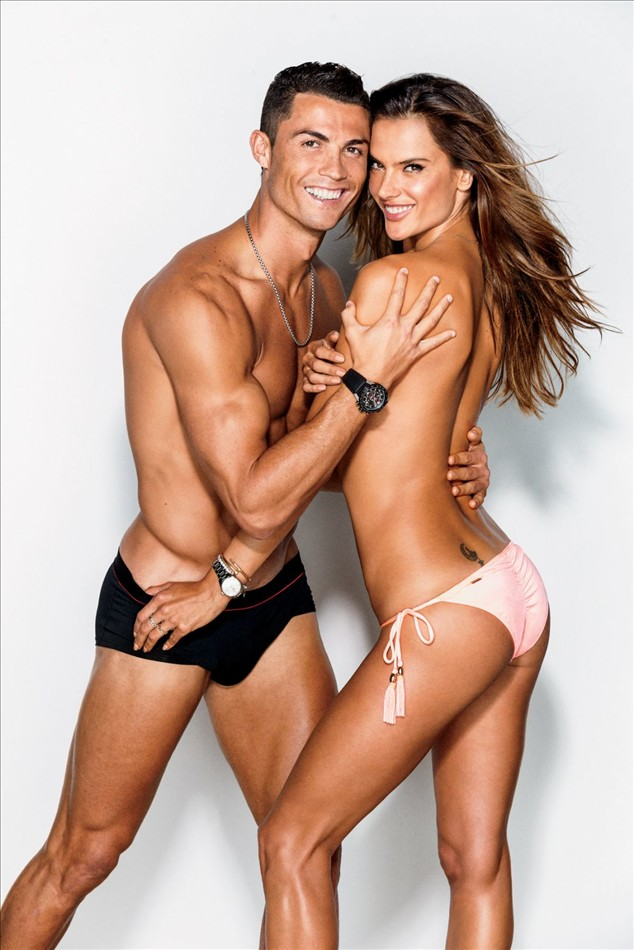 Alessandra Ambrosio With Cristiano Ronaldo In GQ US February 2016 by Ben Watts