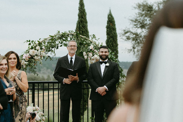 groom seeing bride in ceremony