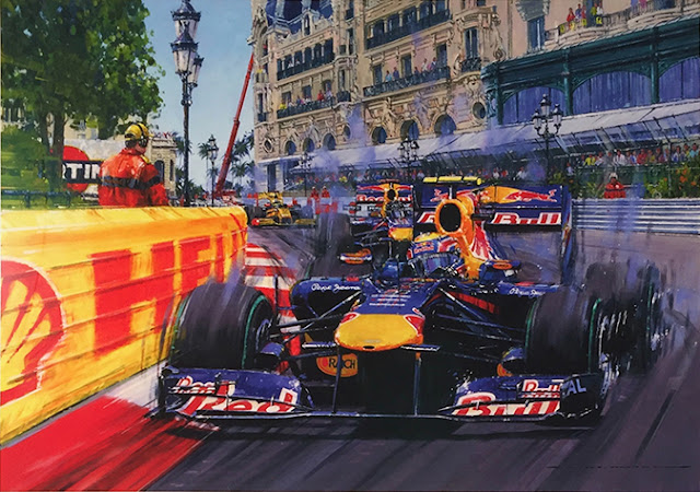 Raging Bulls giclee by Nicholas Watts, autographed, available at l'art et l'automobile.