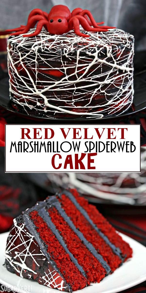 RED VELVET MARSHMALLOW SPIDERWEB CAKE #halloweenrecipes