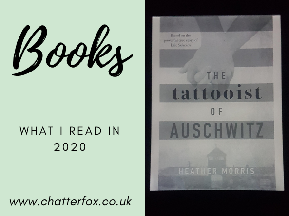 Image of the front cover of The Tattooist of Auschwitz by Heather MorrisKindle Paperwhite Edition. The front cover has a striped background representative of the uniform worn in concentration camps and the book title written in bold across the stripes. To the right is a title that reads 'Books, what i read in 2020, www.chatterfox.co.uk'
