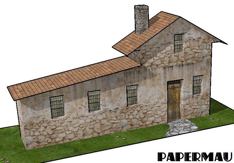 papermau european style house paper model for dioramas
