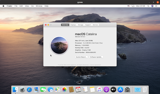 macOS Catalina virtual machine QEMU Linux