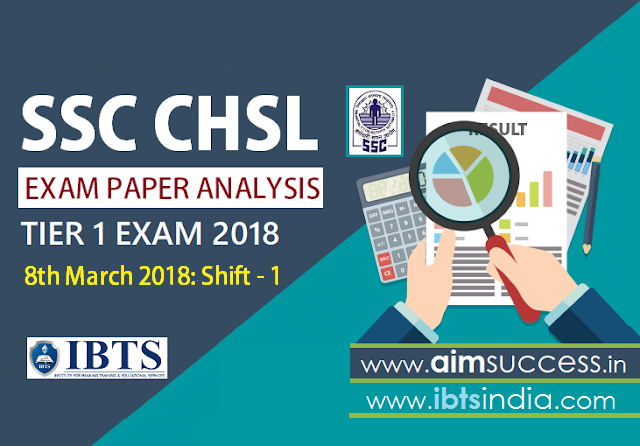 SSC CHSL Tier-I Exam Analysis  8th March 2018: Shift - 1