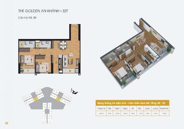 Thiết kế căn hộ a8 b8 The Golden An Khánh