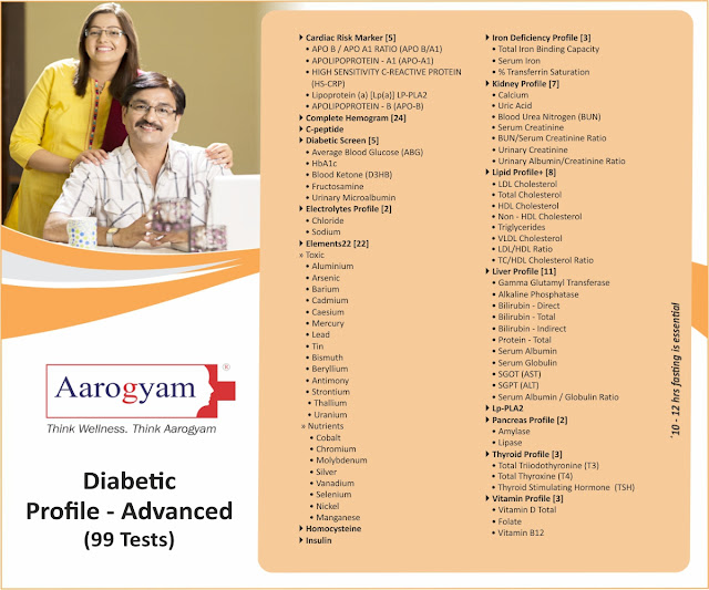 Diabetic Advanced Profile - HbA1c, ABG, Blood Ketone(D3HB), Fructosamine + Urinary Microalbumin + Insulin +++ @ Rs 2250 / 99 tests