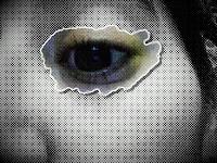 Imagen de un ojo en color atrapado en un halo gris.