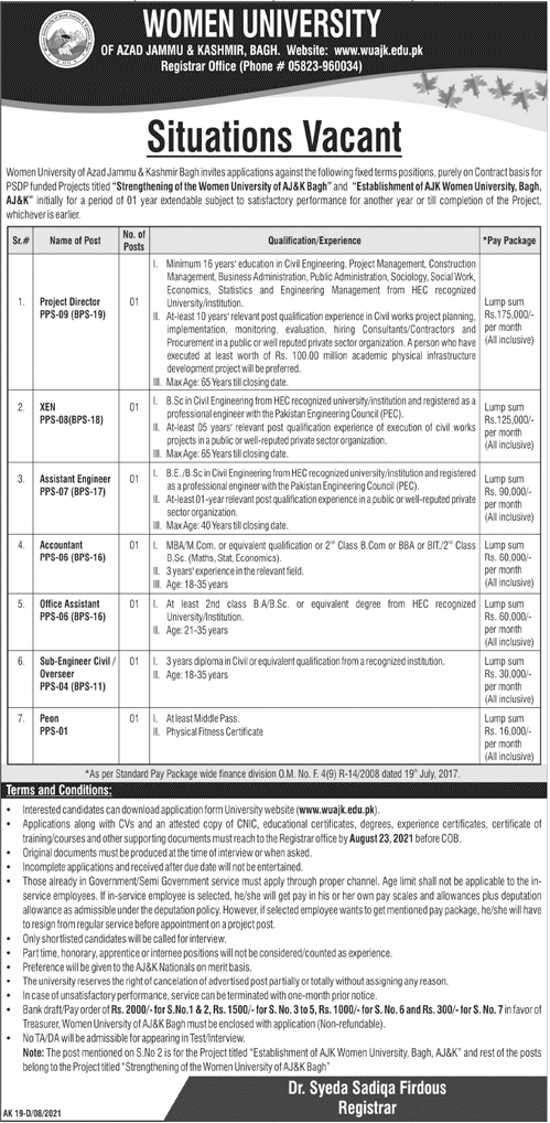www.wuajk.edu.pk Jobs 2021 - WUAJK Women University of AJK Jobs 2021 in Pakistan
