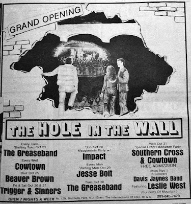The Hole In The Wall rock club ad November 1980
