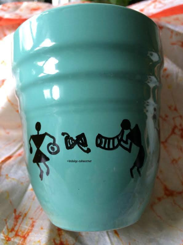Warli with Sharpie marker on coffee mug