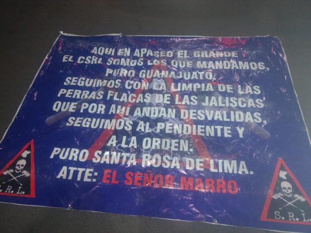 """Att El Seññor """"El Marro"""" dispuesto a todo; con narcomantas amenaza al CJNG en Guanajuato.. """"Aquí en Celaya y en todo el Estados la verga somos nosotros culeros.. el CSRL"""""""