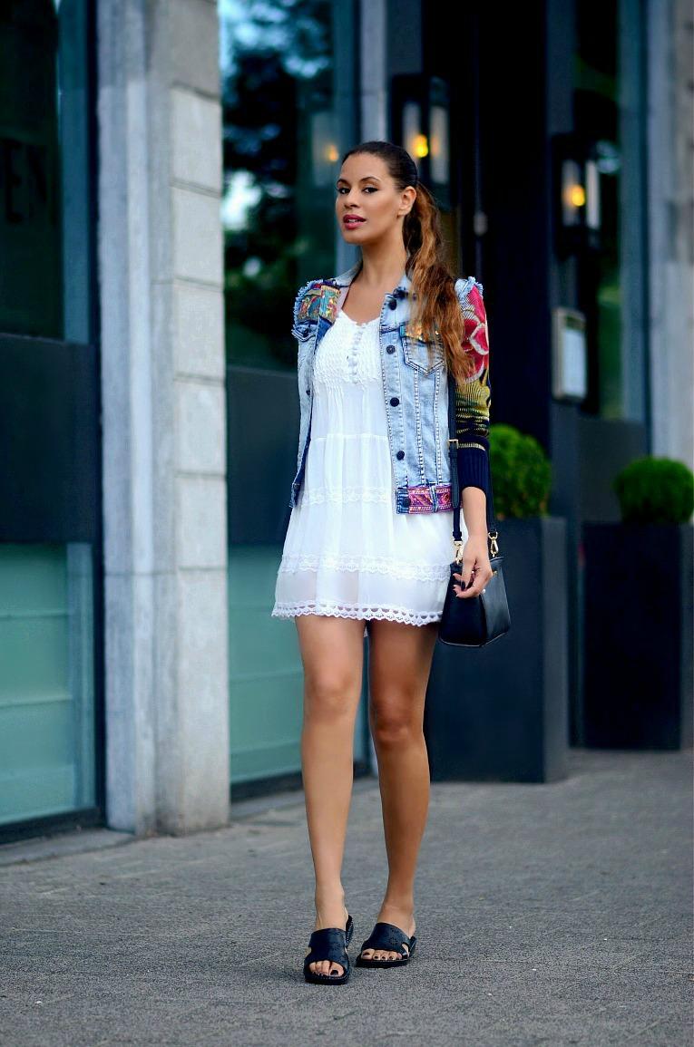 White lace summer dress, Desigual Denim floral sleeved jacket, Tamara Chloé, TC Style Clues, Flat sandals, Michael Kors Selma bag, Babydoll dress, Lace dress