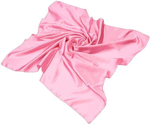 Square Plain Shiny Pink Satin Scarf