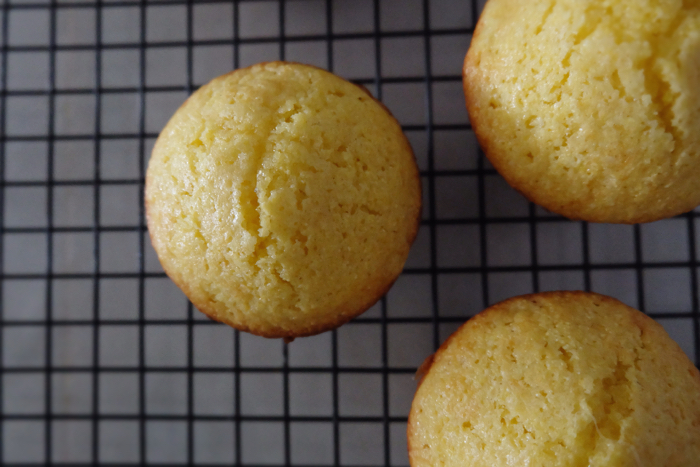cornbread muffin cooling on rack close up