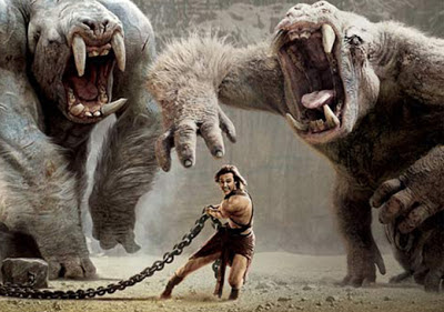 John Carter fights two Barsoomian white apes