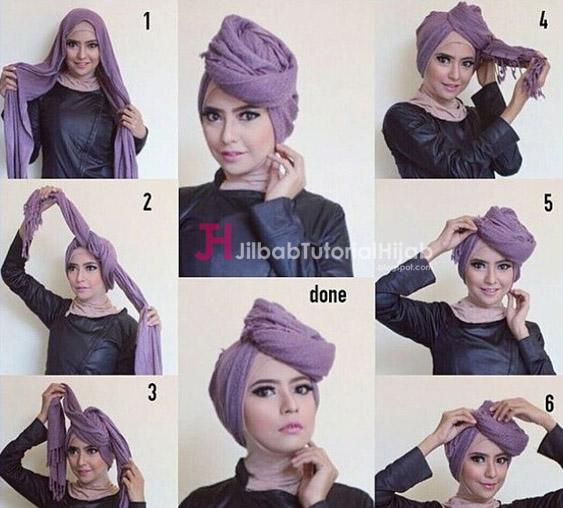 Kumpulan Gambar Tutorial Cara Memakai Hijab Turban Modern
