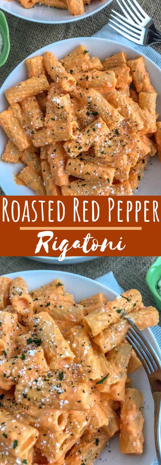 Roasted Red Pepper Rigatoni #dinner #pasta