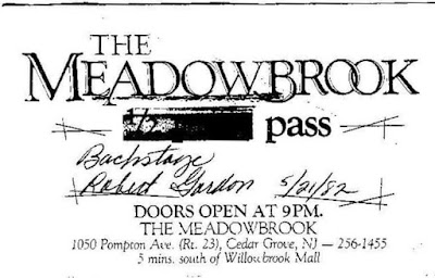 Meadowbrook backstage pass for May 21, 1982