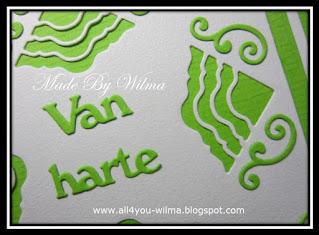 "Een close-up van ""Van harte"" en van 2 verschillende Inside or out-stansen. A close-up of ""Congrats"" (Dutch words) and of 2 different Inside or out dies."