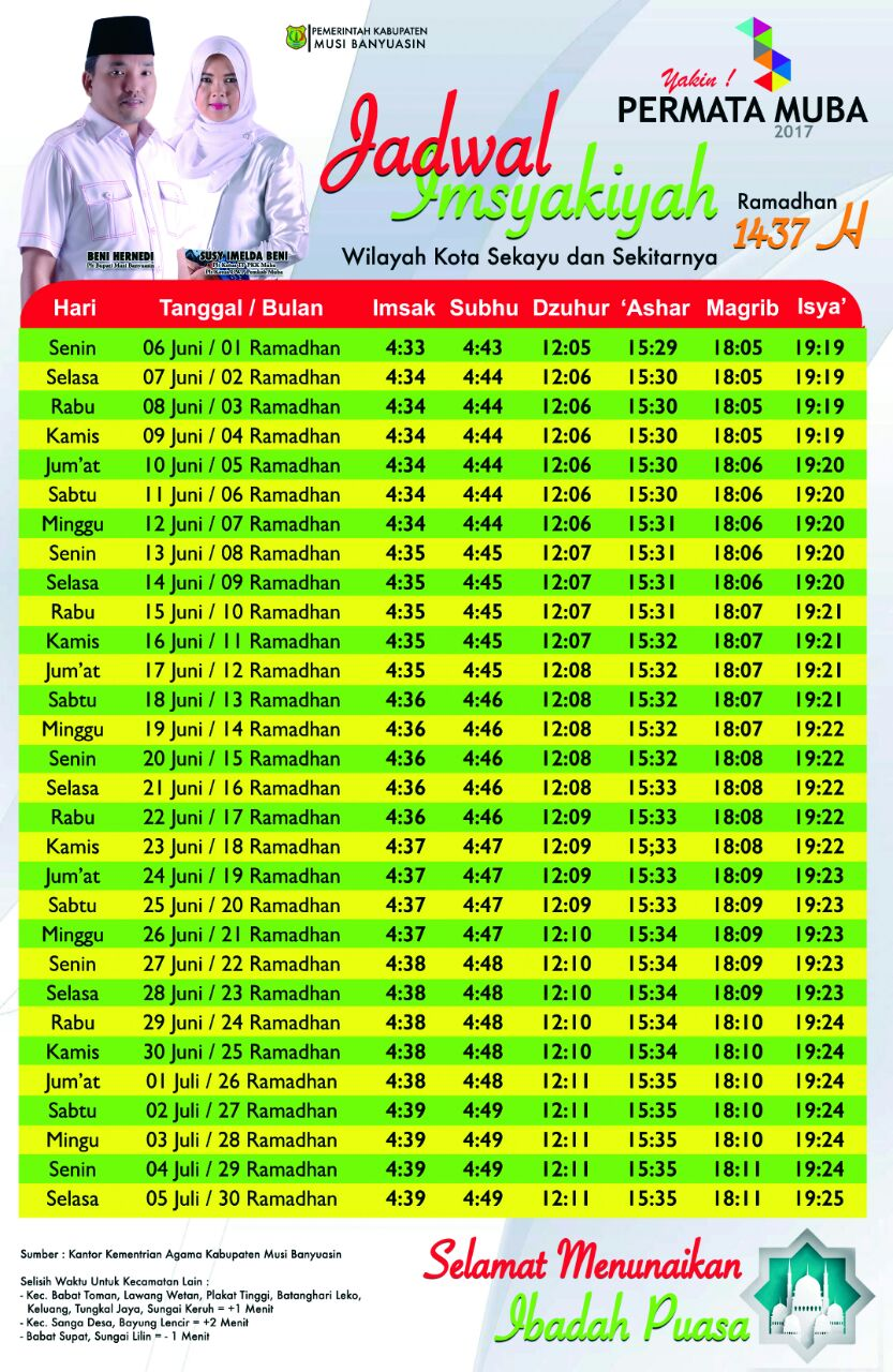 Inilah Jadwal Imsakiyah Ramadhan 1437 H Untuk Kota Sekayu Dan
