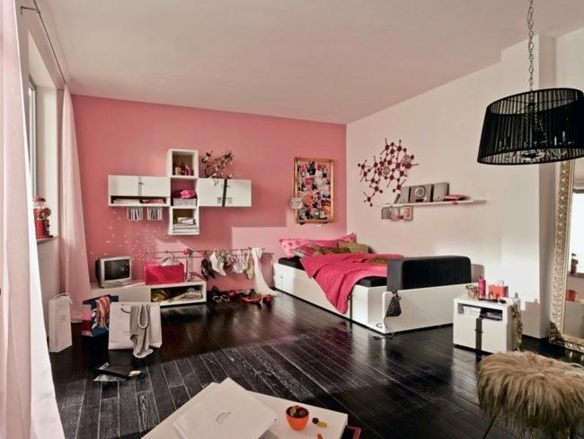 dormitorio juvenil rosa y negro