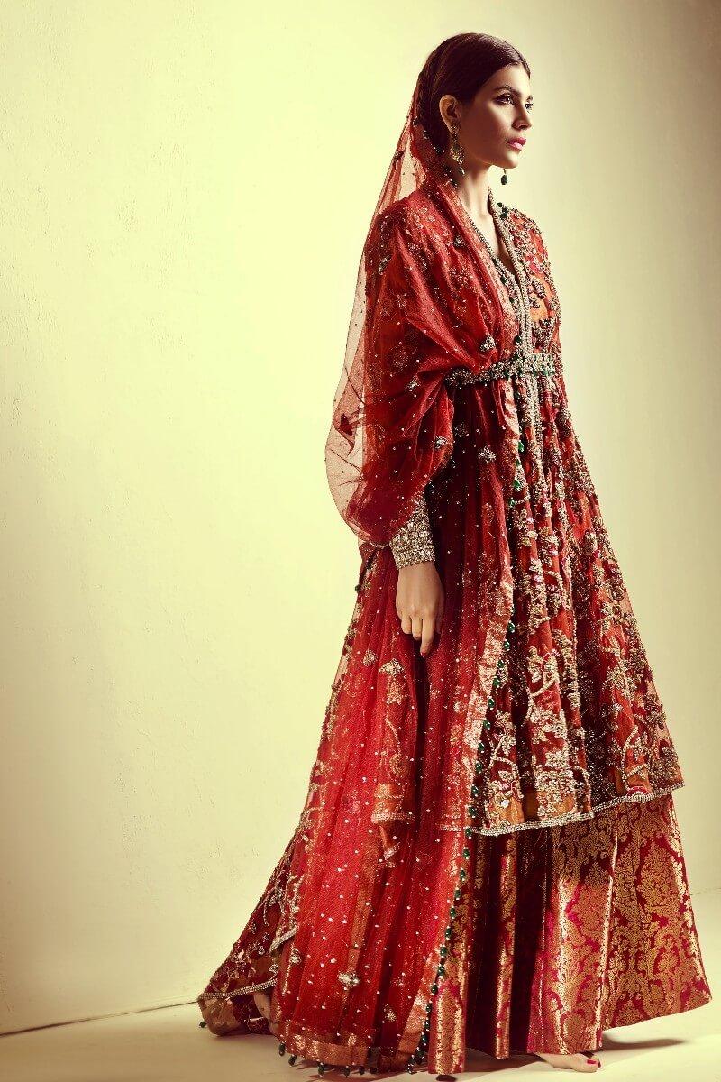 Mahgul Banarasi Bridal Lehenga with Embroidered Shirt