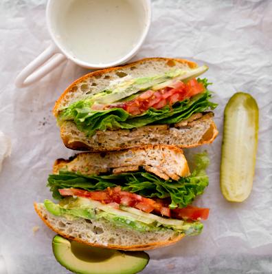 Vegan TTLA Sandwich (tempeh, tomato, lettuce & tomato)
