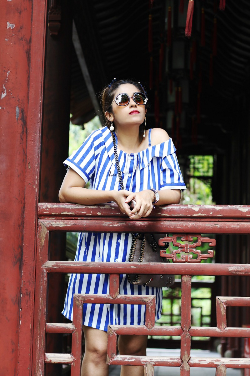 Off Shoulder Striped Top - OOTD - Buy Online dress at koovs, amazon, asos
