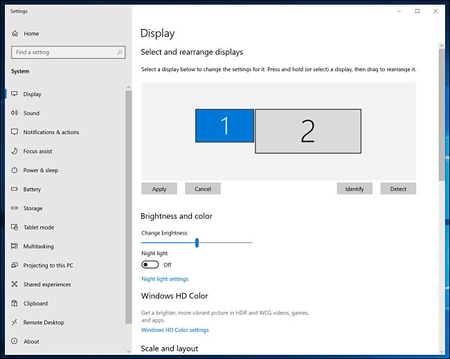 نافذة إعدادات عرض Windows 10