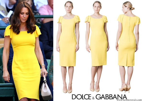 Kate Middleton wore Dolce & Gabbana Cap Sleeved Cady Midi Dress