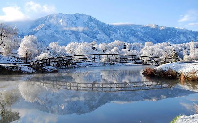 Een meer, bergen en besneeuwde bomen