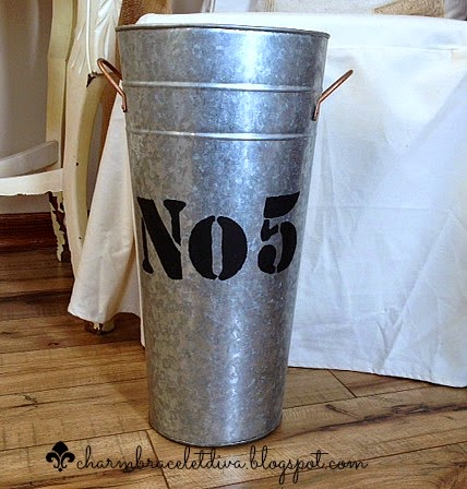 galvanized French flower bucket No. 5 stencil