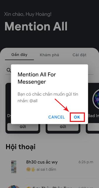 Tiếp tục nhấn OK để gửi tin nhắn